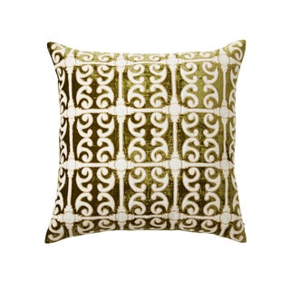 Petworth Greeb and White Silk Velvet & Linen Pillow For Sale