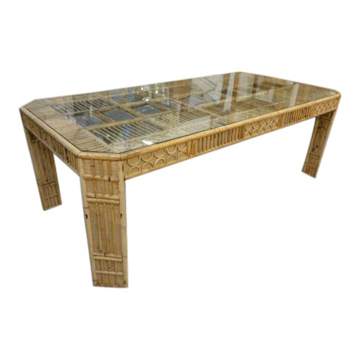 Bamboo & Seagrass Fretwork Dining Table - Image 1 of 11