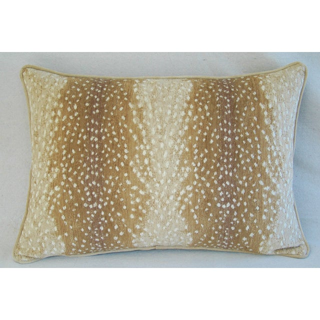 """Rustic Large Custom Fawn Speckled Spot Velvet Feather/Down Lumbar Pillow 26"""" X 18"""" For Sale - Image 3 of 8"""