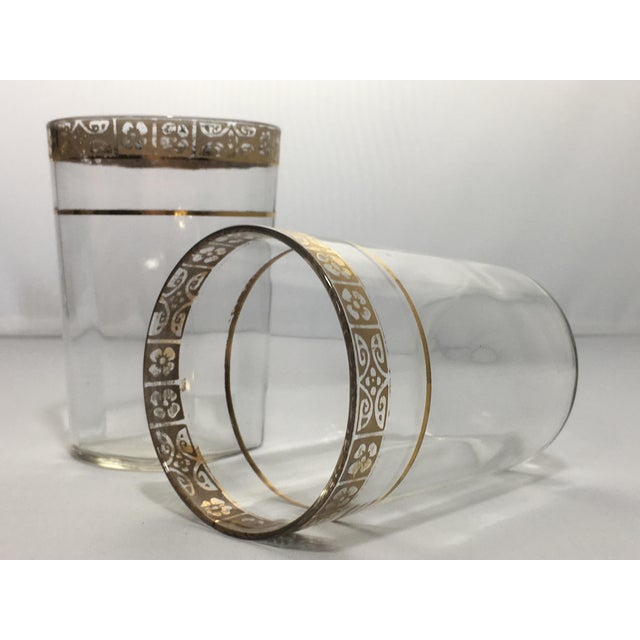 Vintage Optic 18k Gold Etched Band Glassware - Set of 21 For Sale - Image 9 of 11