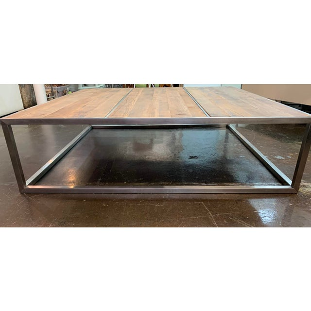Contemporary Contemporary Distressed Wood & Chrome Extra Large Square Coffee Table For Sale - Image 3 of 4