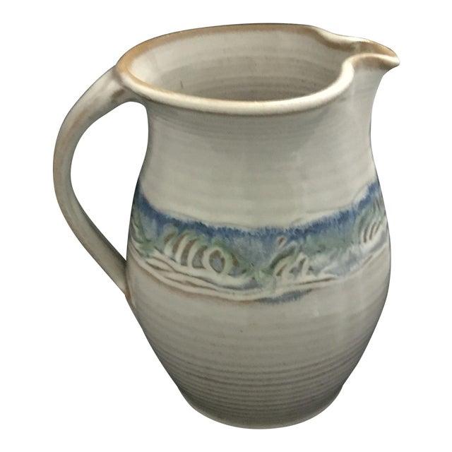 Ceramic White and Blue Potter J. Preston Pitcher For Sale