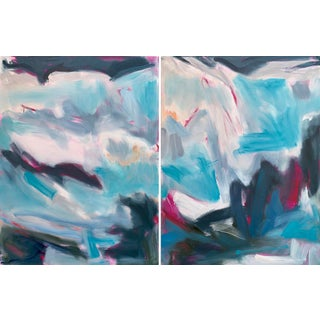 """""""High Alps"""" by Trixie Pitts Large Diptych Oil Painting For Sale"""