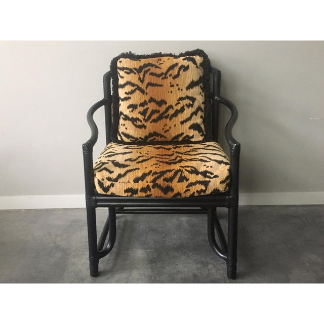 Black bamboo + tiger print armchair by Milling Road a Division of Baker Furniture. Beautiful, curvy modern-organic lines....