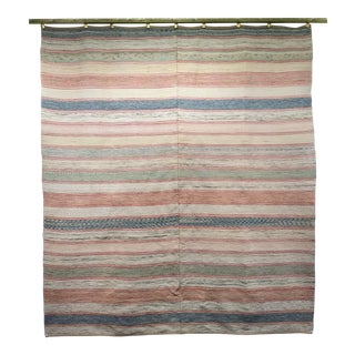 Vintage American Flat-Weave Wool Rug With Earth-Tone Colors - 6′1″ × 6′8″ For Sale
