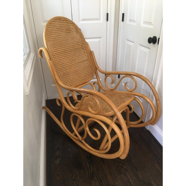 Mid-Century Boho Chic Bentwood Bamboo Rocking Chair For Sale - Image 9 of 10