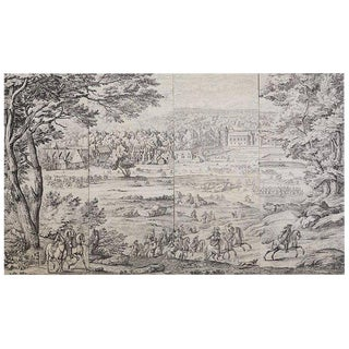 Monumental French Provincial Toile De Jouy Textile Panels For Sale