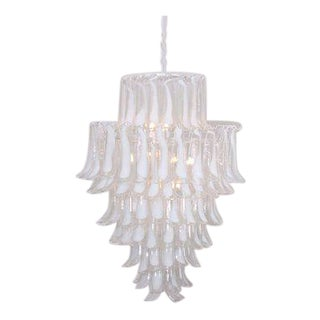 Extra Large Oversized Murano Glass Tulipani or Feather Chandelier by Mazzega For Sale