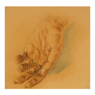 Vintage Hand Study Drawing, C. 1960 For Sale