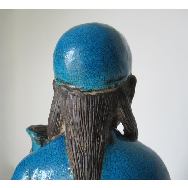C1950s Rare Italian Ugo. Zaccagnini Terra Cotta Crackle Glaze Persian Blue Asian Figure For Sale - Image 11 of 13