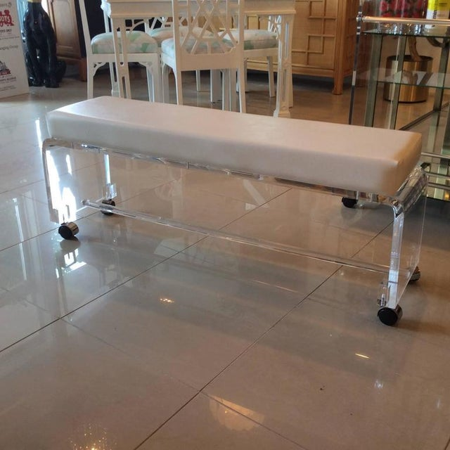 Lucite White Leather Waterfall End of Bed Bench Seat - Image 2 of 10