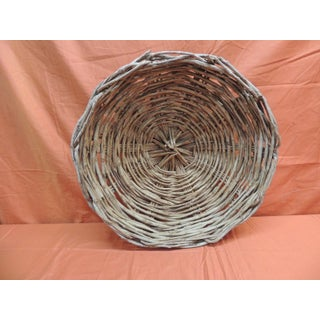 Vintage Large Round Primitive Style Willow Woven Basket/ Bowl Preview