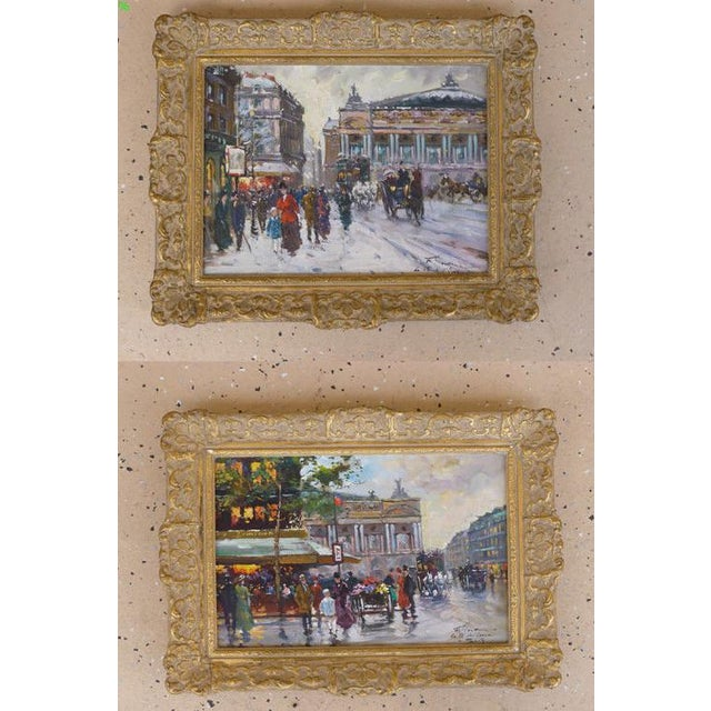 This is a pair of vintage painting by artist Francois Gerome. The pieces depict urban scenes in Paris.
