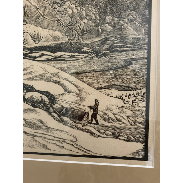"1930s Woodcut by Eloise Howard ""Opening the Road"" 1936 For Sale - Image 5 of 11"