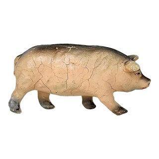 Vintage Rustic Pig Figurine For Sale