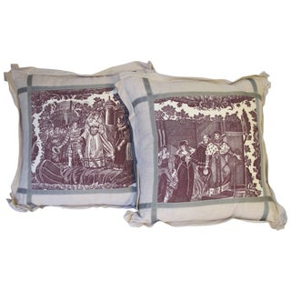 Pair of 19th Century Toile Pillows by Mary Jane McCarty For Sale