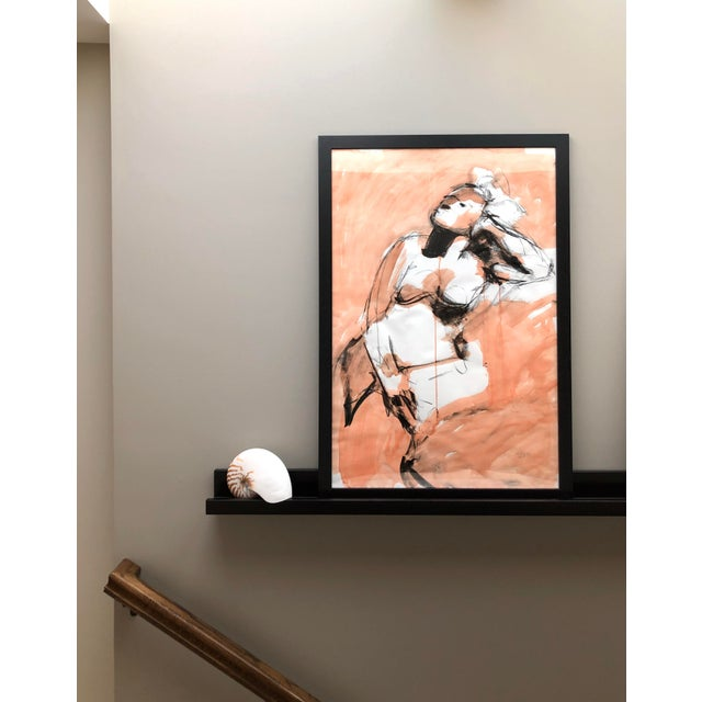 """Figurative Contemporary Figure Drawing in Orange and Black, """"Gloria Gesture in Orange"""" by David O. Smith For Sale - Image 3 of 12"""