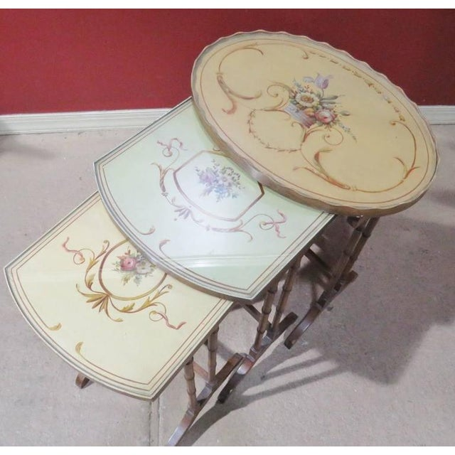Three French Style Paint Decorated Nesting Tables For Sale - Image 4 of 5