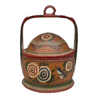Vintage Chinese Woven Rattan Painted Betrothal Wedding Basket For Sale