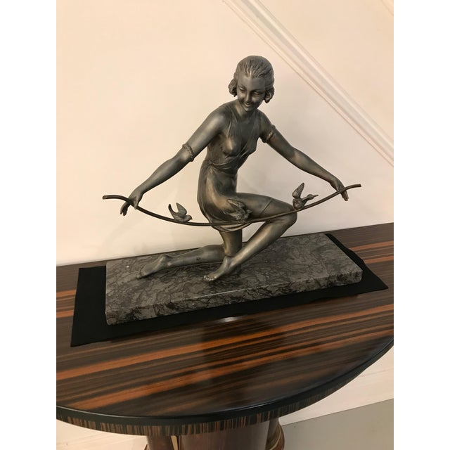 Art Deco French Art Deco Female Sculpture on Marble For Sale - Image 3 of 13
