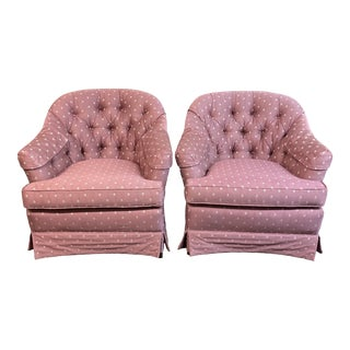 Ethan Allen Mauve Tufted Arm Chairs - a Pair For Sale