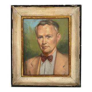 1950s Portrait of a Gentleman Wearing a Bowtie Pastel Drawing, Framed For Sale