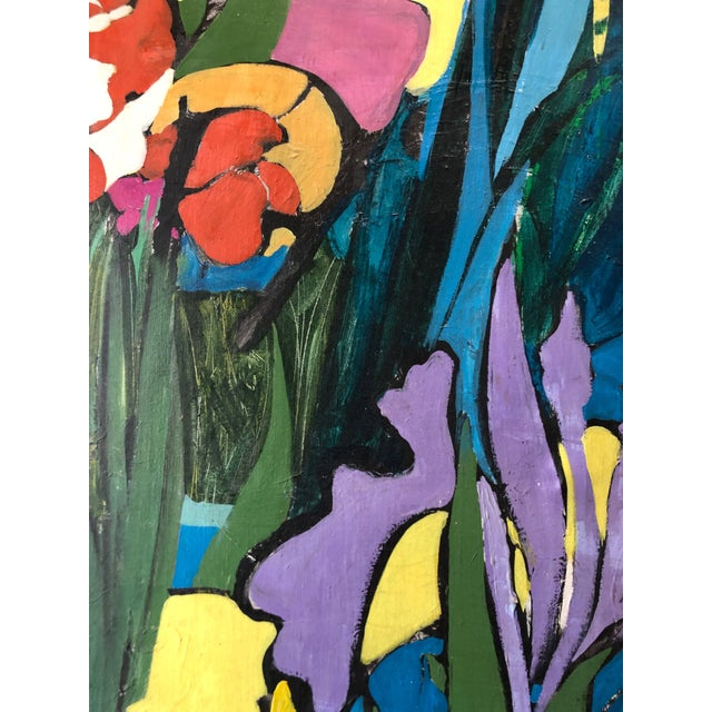 "1970s 1974 Floral Abstract Painting Ny Artist ""Iris in Front"" For Sale - Image 5 of 6"