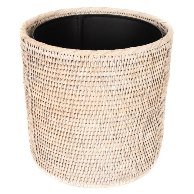 Artifacts Rattan Round Waste Basket With Metal Liner For Sale - Image 4 of 4