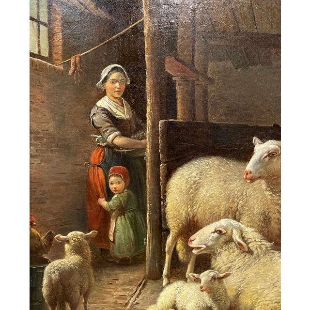 Late 19th Century 19th Century Dutch Sheep Painting in Carved Gilt Frame Signed Frans Lebret For Sale - Image 5 of 13