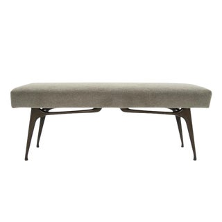 Sculptural Walnut Bench in Mohair, Italy, 1950s For Sale