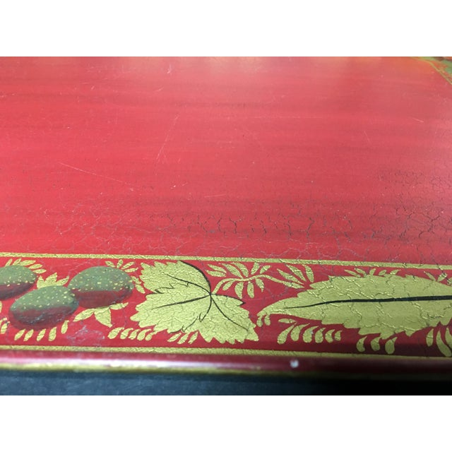 Metal Vintage Tole Tray Red With Gold Stencil Design For Sale - Image 7 of 9