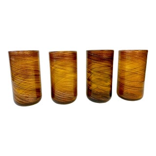 Vintage Gold Swirl Murano Glass Tumblers - Set of 4 For Sale