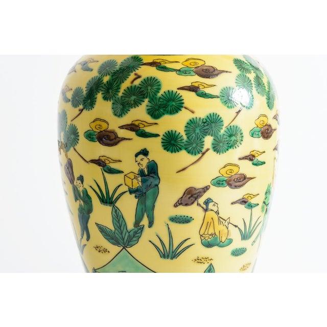 Japanese Kutani Porcelain Vase Table Lamp With Custom Shade, C. 1940 For Sale - Image 12 of 13