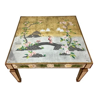 French Hollywood Regency Verre Eglomise Mirrored Coffee Table For Sale