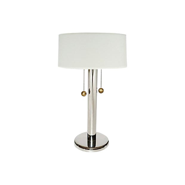 George Kovacs Chrome Table Lamp w Ball Pulls For Sale