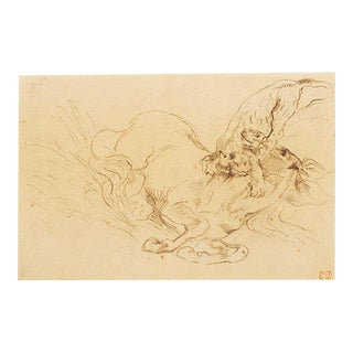 """1959 Rare Delacroix, """"Tiger Mauling a Wild Horse"""" Hungarian Lithograph For Sale"""