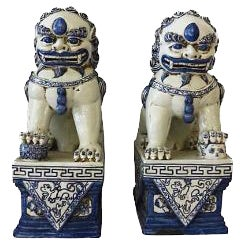 Blue & White Porcelain Foo Dogs - A Pair
