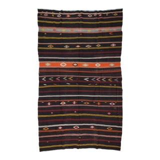 "Vintage Black Striped Large Turkish Kilim Rug - 8'4"" x 13'1"" For Sale"