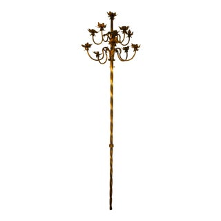Massive 1920s Gilt Iron Spanish Revival Theater 12 Light Torchiere - 2 Available For Sale