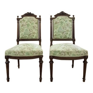 1950s French Louis XVI Floral Motif Upholstery Side Chairs - a Pair For Sale