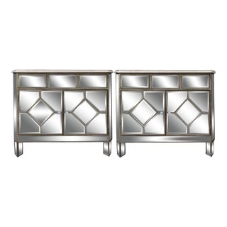 Art Nouveau Mirrored Commodes / Nightstands - a Pair