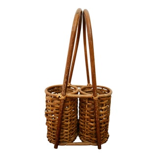 Bamboo Rattan Double Wine 2 Bottle Holder Caddy Basket