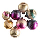 Image of Mid Century Blown Glass Glitter Ornaments - Set of 8 For Sale