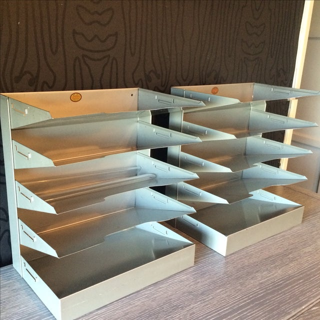 Mid-Century Metal Filing Trays - A Pair - Image 4 of 7