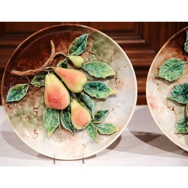 Late 19th Century 19th Century French Hand-Painted Barbotine Plates With Apples and Pears - a Pair For Sale - Image 5 of 10