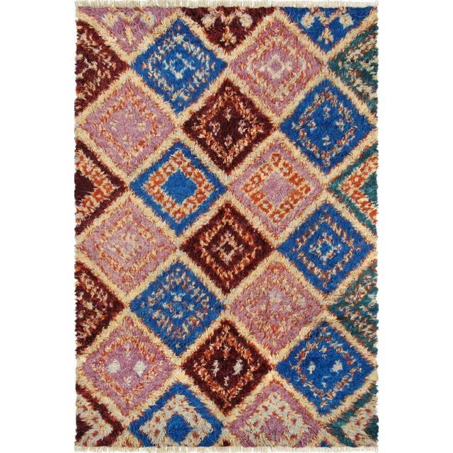 Pink Blue Moroccan Wool Area Rug 5 5 X 8 5 Chairish