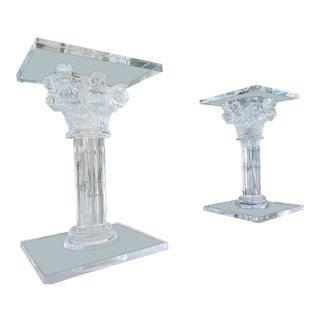 """1950's Vintage """"Fabian Roma"""" Lucite Corinthian Pedestals- A Pair For Sale"""