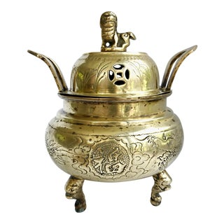 Vintage Antique Chinese Foo Dog Incense Burner Tripod Solid Brass