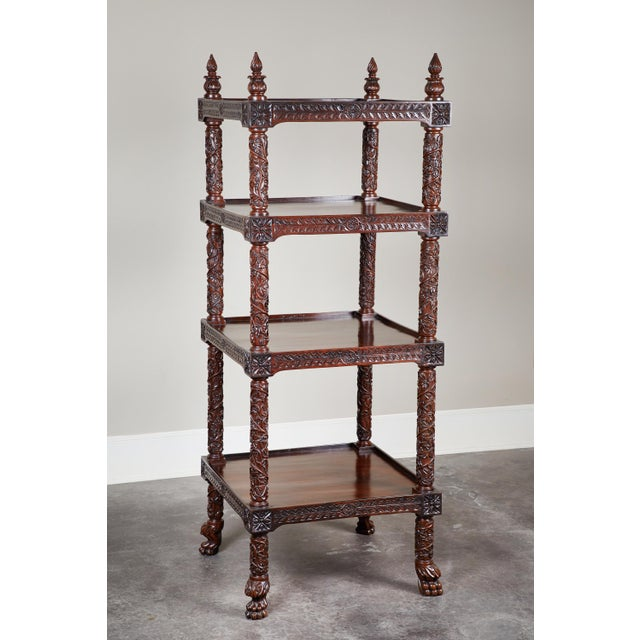 19th Century Four Tiered Rosewood Carved Etagere - Image 10 of 10