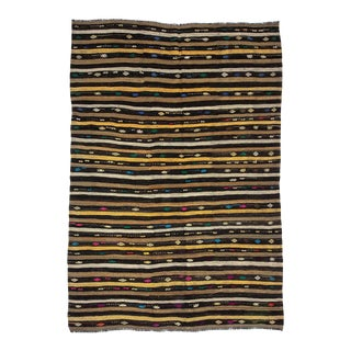 "Vintage Embroidered Striped Kilim Rug-7'1'x10'7"" For Sale"